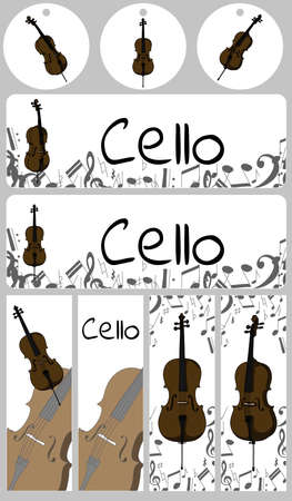 Banners, buisness card template with cello. Isolated vector illustration with musician on white background