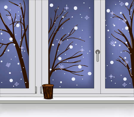 Window with views falling snow and tree. Coffee, latte, capuchino on the windowsill. Vector winter illustration using for background Illusztráció
