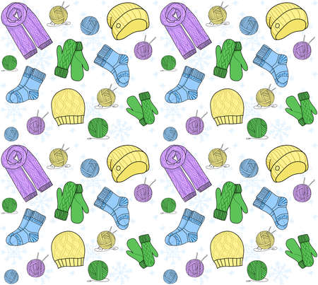 Seamless pattern. Knitting needle, hook, hat, socks, wool skeins. Signs vector set and logos for yarn or tailor hand made store isolated white background
