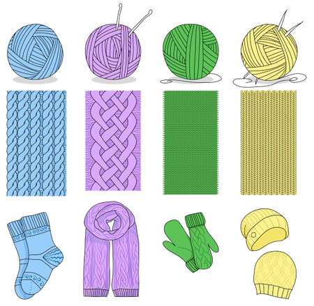 Knitting and set. Knitting needle, hook, hat, socks, wool skeins. Signs set and logos for yarn or tailor hand made store isolated white background Standard-Bild - 134722349