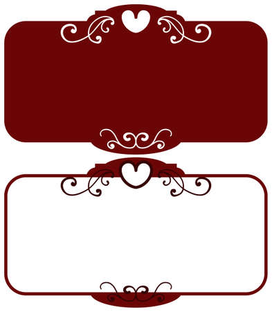 Dark red square vintage frames, design elements. Sketch hand drawn. Decorative border with heart for valentine. Vector illustration isolated background