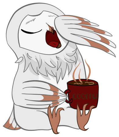 Morning sleeping white barn owl with hot coffee in cartoon vector isolated background