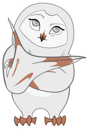 White white barn owl thought deeply in cartoon vector isolated background