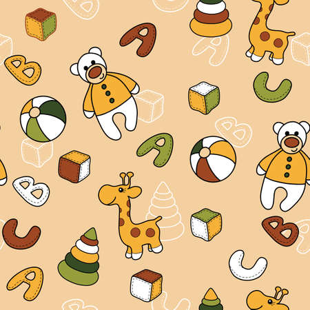 Seamless background with toys Vector