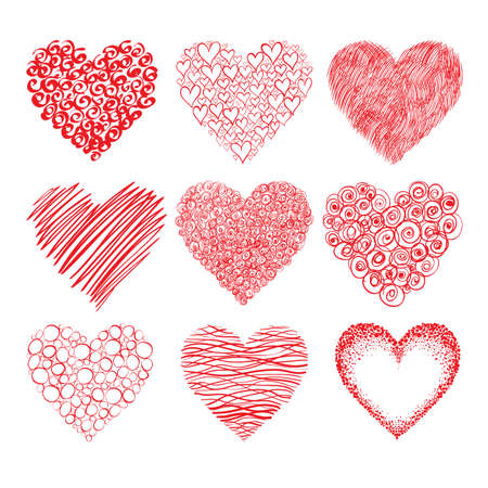 collection of red hand-drawn hearts shapes isolated on white background  Can represent love, Valentine Illustration