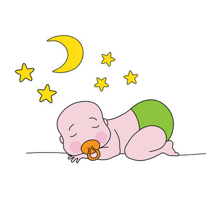 pampers: A sleeping baby with moon and stars. Cartoon  illustration for your design.