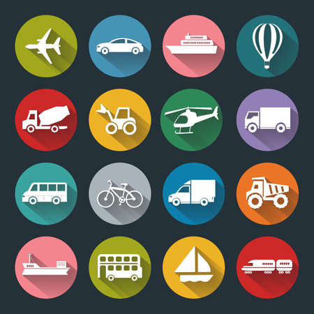 railway transportation: Vector design flat icons of Transport for web, white on colored basis with long shadow