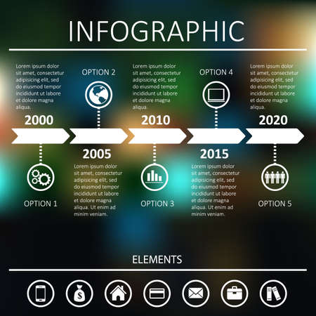 Timeline infographic, vector design template  White on a dark background with lights