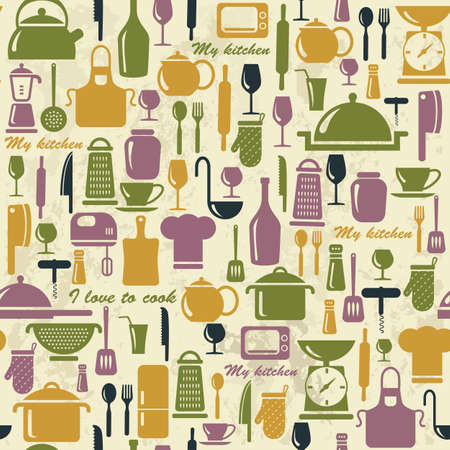 skillet: Seamless background with colorful kitchen icons  Vintage illustration