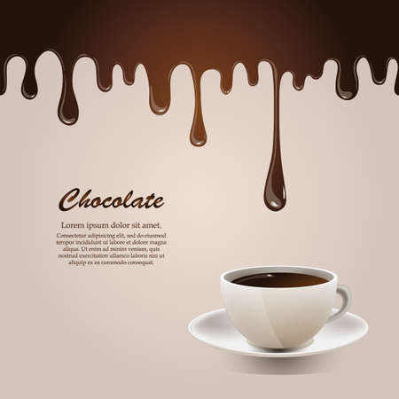 Seamless flowing melted chocolate with cup   Vector