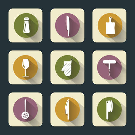web footed: Vector design kitchen flat icons for web, white on colored basis with long shadow