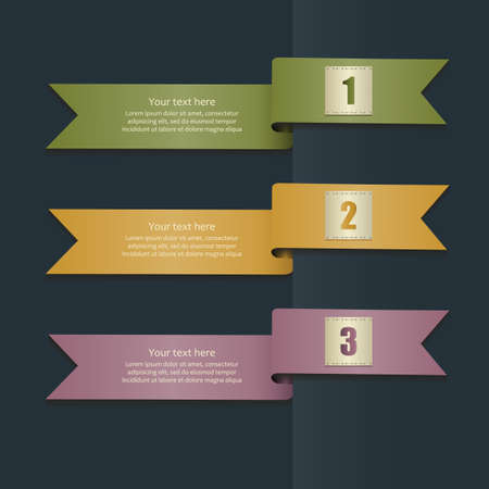 Set of colorful ribbons with numbers on a dark background. Banners for web, templates for infographics. Vector