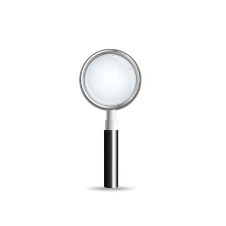 clues: Magnifying glass isolated on white background. A silver colored loupe with black handle.