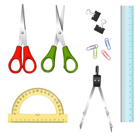 draftsmanship: Collection of school supplies on white background - scissors, compasses, ruler, protractor, paperclips