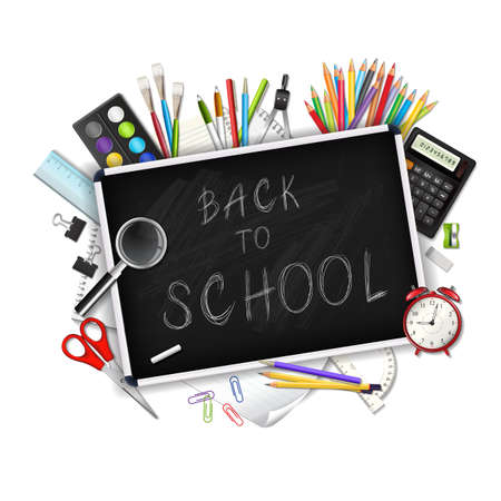 draftsmanship: Back to school background with supplies tools isolated on white background. Layered vector illustration. Illustration