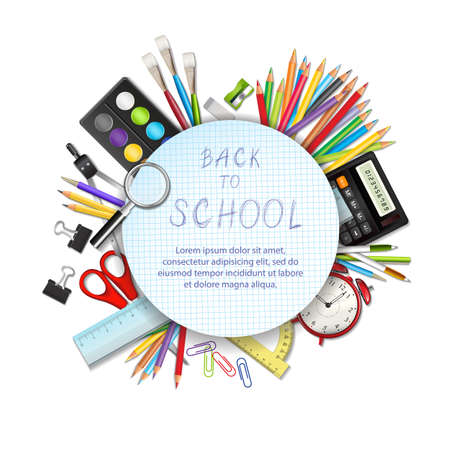draftsmanship: Back to school background with supplies tools and space for text. Layered vector illustration on white background. Illustration