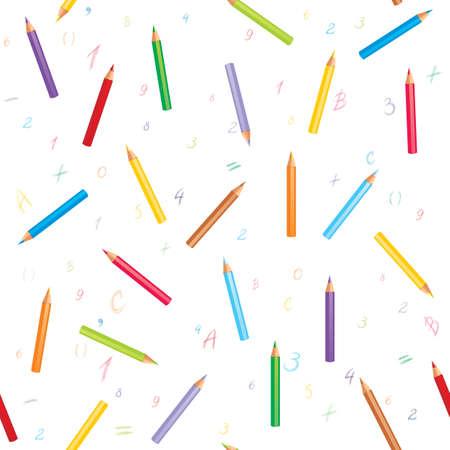 Seamless background with colorful pencils, hand-drawn numbers, mathematical symbols and letters. Illustration with a place for your text Vector