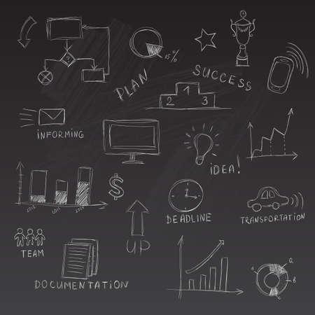 Set of chalk sketched business management infographics elements Illustration