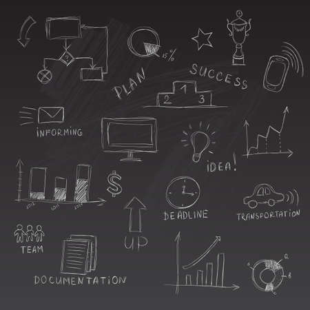 Set of chalk sketched business management infographics elements Ilustração