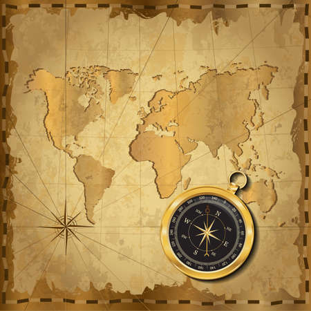 Gold compass with wind-rose on vintage map. Adventure stories background. Vector