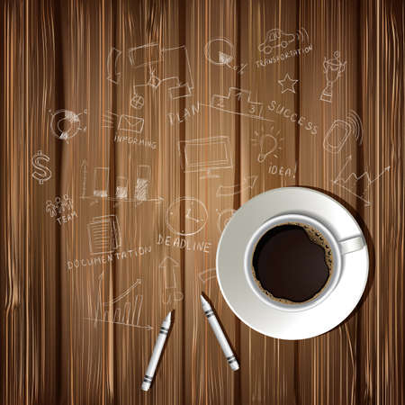 Coffee cup and drawing business strategy plan concept idea on wooden table. Workflow layout. Illustration