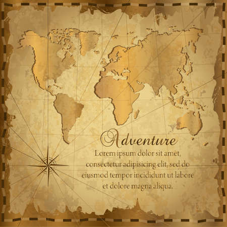 Card with vintage map. Adventure and  journey background. Vector