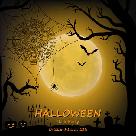 Halloween vector background with moon, bats, spider web, spider and halloween lanterns. Vector