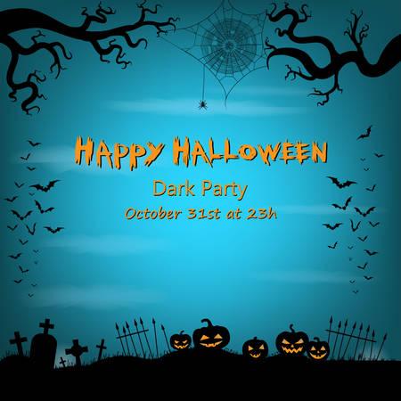 horror background: Happy Halloween background with bats, spider web, spider, halloween lanterns and graveyard.
