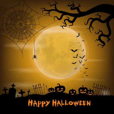 Halloween vector background with moon, bats, spider web, spider,  graveyard and halloween lanterns.