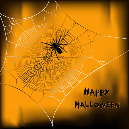 Happy Halloween vector background with spider on web Vector
