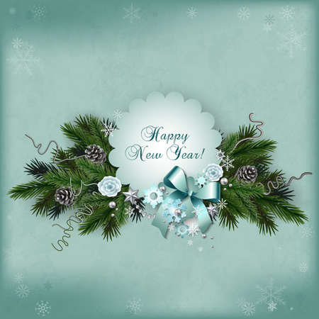 multilayer: Vintage multilayer card for the winter holidays in scrapbooking style with space for text. New Year or Christmas template