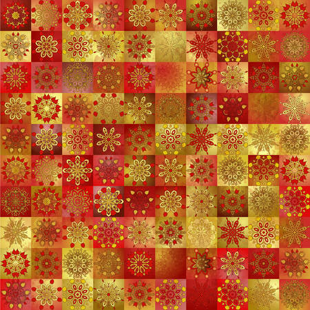 Seamless ornament background. Vintage ornate pattern with floral delicate ornament. Gold and red patchwork tiles. Vector