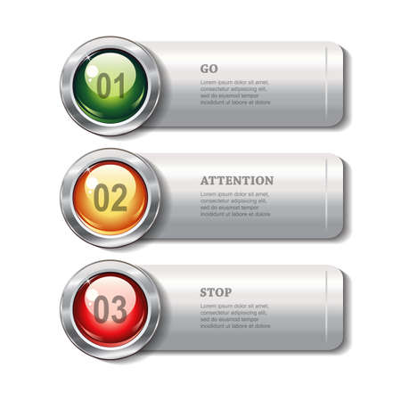 metallic banners: Set of horizontal metallic banners with round shiny buttons on white background for infographics, business design, reports, step presentation, workflow layout, website or app. Vector design.