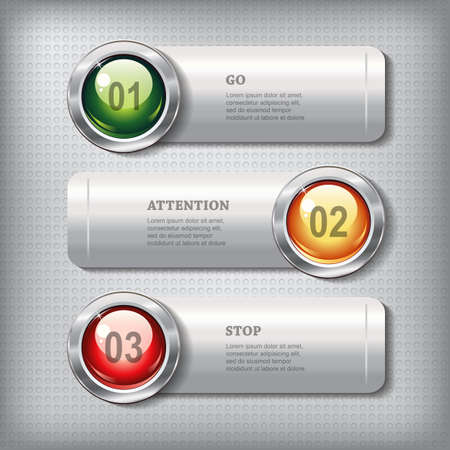 shiny buttons: Set of horizontal metallic banners with round shiny buttons like a traffic lights on a metal textured  background for infographics, business design, reports, step presentation, workflow layout, website or app. Vector design.