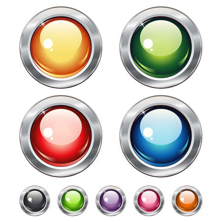 Round blank web shiny buttons with metallic elements for website or app. Vector design.