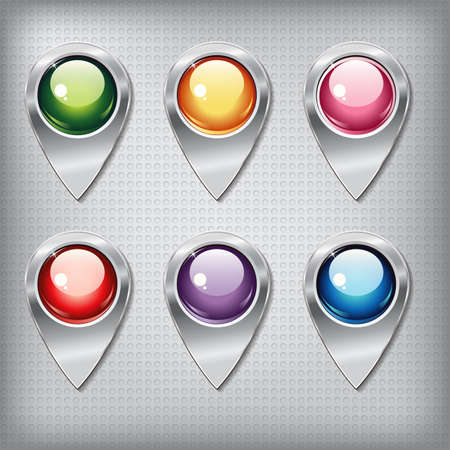 shiny buttons: Set of metallic map pointers with colored shiny buttons on a metal textured  background for websites or applications (app) for smartphones and tablets. Illustration