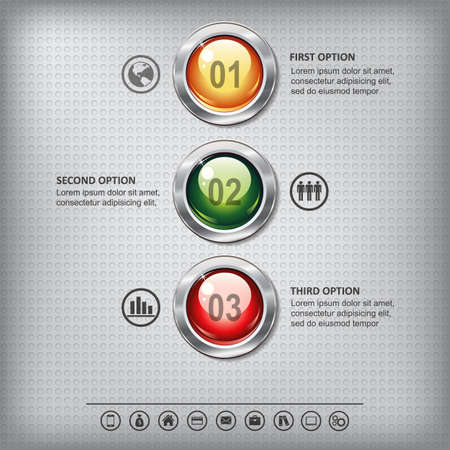 shiny buttons: Set of shiny colored buttons with metallic elements on a metal textured  background for business design, infographics, step presentation or website design.