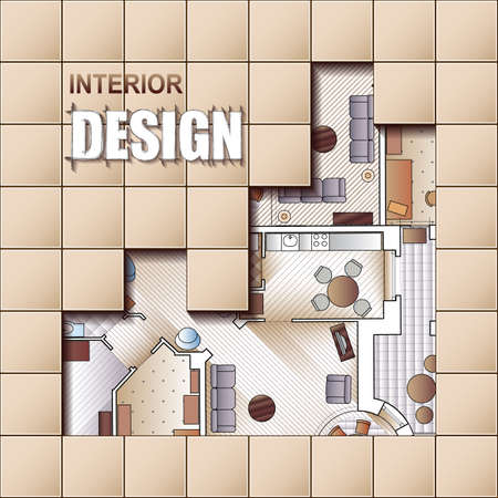 Background for design of interiors with parts of detailed architectural plan and flat projection with furniture. Vector