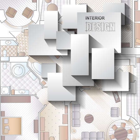 architectural interiors: Background for design of interiors with parts of detailed architectural plan and flat projection with furniture.