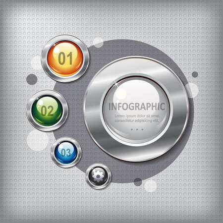 shiny buttons: Modern presentation panel with shiny colored buttons on a metal textured  background for business design, infographics, step presentation or website design.