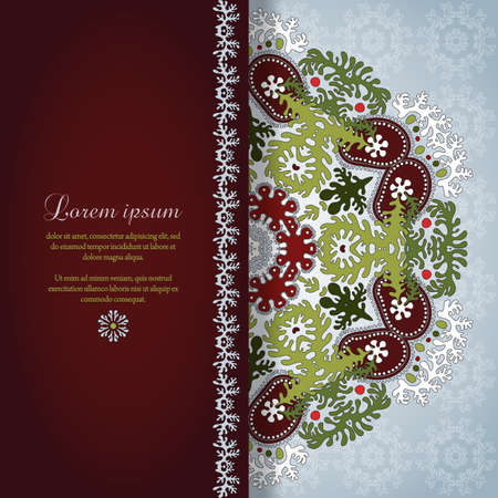 burgundy ribbon: Vector card with round floral pattern. Delicate ornament with lacy leaves. Place for your text. Perfect for greetings, invitations or announcements. Illustration