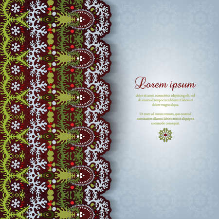 burgundy ribbon: Greeting card with lace and floral delicate ornament. Place for your text. Perfect for greetings, invitations or announcements.
