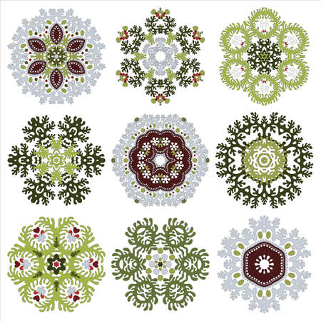 Vector set of nine floral circular design elements isolated on white background for your design . Delicate pattern with lace leafs.