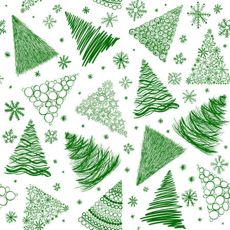 Seamless background with  hand-drawn Christmas trees and snowflakes isolated on white. Perfect for New Year and Christmas design. Illustration