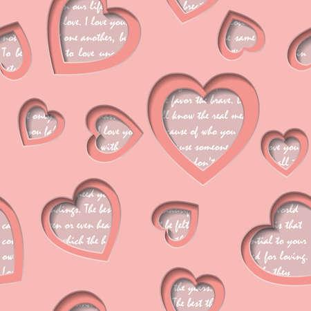 Seamless background with cut out hearts and text about love. Valentines Day background with hearts. Can represent love, Valentines Day, romance, wedding. Vector