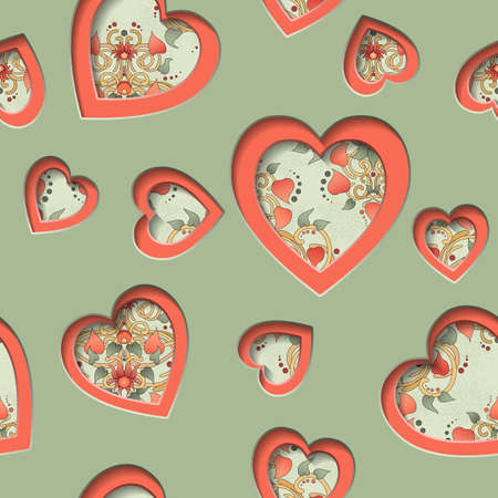 Seamless background with cut out silhouettes of hearts. Valentines Day background with hearts. Can represent love, Valentines Day, romance, wedding. Vector