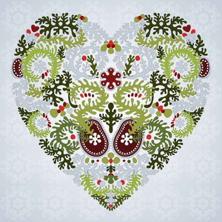 represent: Heart silhouette created by floral ornament. Lacy leaves. Can represent love, Valentine Illustration