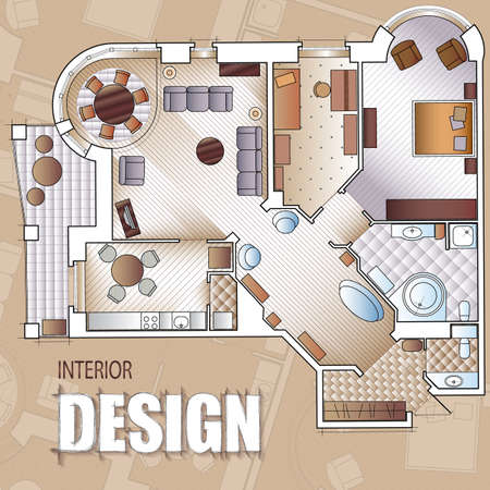 Background for design of interiors with parts of detailed architectural plan and flat projection with furniture.