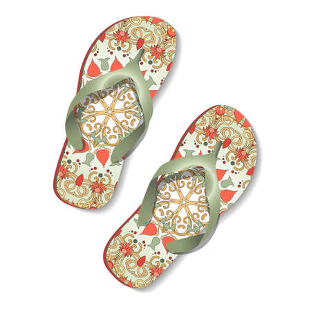 sandals: Beach sandals  with floral ornament. Vector pair of flip flops. Illustration