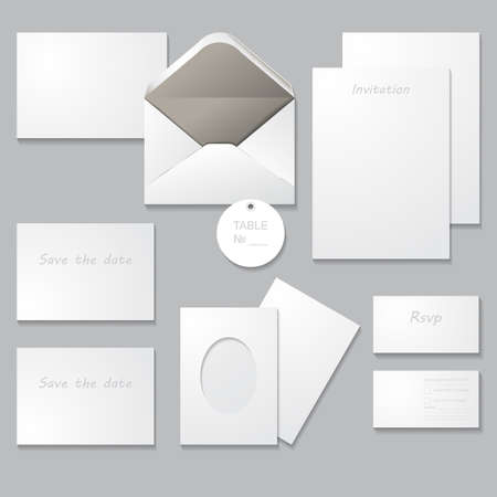 detail invitation: Wedding invitation set (thank you card, save the date card, RSVP card). Set of wedding templates with shadows, isolated on gray background. For Special Occasions & Life events.